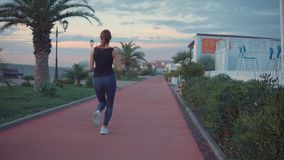 Η λεπτή γυναίκα στο ανάχωμα πόλεων κατά μήκος των μικρών σπιτιών, που κρατούν κατάλληλος απόθεμα βίντεο
