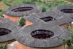 Η λεπτομέρεια του Fujian Tulou, η κινεζική αγροτική χωμάτινη κατοικία μοναδική στη μειονότητα Hakka στην επαρχία Fujian στην Κίνα στοκ φωτογραφία