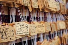 Η λεπτομέρεια των επιθυμιών που γράφτηκαν στους ξύλινους πίνακες κάλεσε το EMAS ` ` που τοποθετήθηκε από τους επισκέπτες στη λάρν Στοκ Εικόνα