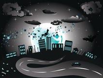 Η μάγισσα έρχεται στην πόλη διανυσματική απεικόνιση