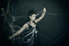 Η μάγισσα γλιστρά μέσω του Ιστού στοκ εικόνα με δικαίωμα ελεύθερης χρήσης