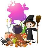 Η μάγισσα και μαγικός παρασκευάζει στο δοχείο διανυσματική απεικόνιση