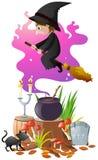 Η μάγισσα με τη μαγική σκούπα και παρασκευάζει διανυσματική απεικόνιση