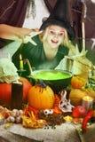 Η μάγισσα παρασκευάζει ένα πράσινο παρασκευάζει στοκ εικόνες
