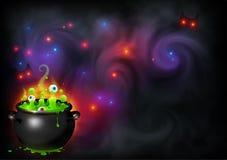 Η μάγισσα ` s μπόουλινγκ παρασκευάζει με τα μάτια στο μαγικό σκηνικό ομίχλης Διανυσματικό υπόβαθρο εμβλημάτων αποκριών διανυσματική απεικόνιση
