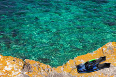 Η μάσκα, κολυμπά με αναπνευτήρα και βατραχοπέδιλα στον απότομο βράχο της θάλασσας στοκ φωτογραφία με δικαίωμα ελεύθερης χρήσης