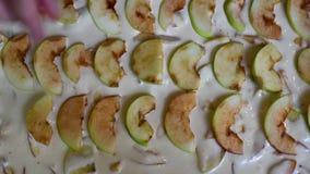 Η μαγειρεύοντας Apple Σαρλόττα που βάζει τα μήλα απόθεμα βίντεο