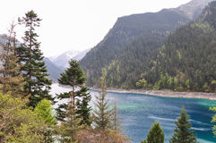 Η μακριά λίμνη είναι σκούρο μπλε και από τη σειρά των πράσινων λόφων. Στοκ εικόνες με δικαίωμα ελεύθερης χρήσης