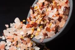 Η μακρο συλλογή, οδοντώνει το himalayan άλας βράχου μικτός με τα καρυκεύματα Στοκ Εικόνες