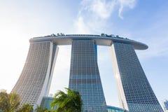 η μαρίνα ξενοδοχείων κόλπων στρώνει με άμμο Σινγκαπούρη Στοκ Εικόνες