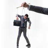 Η μαριονέτα επιχειρηματιών που απομονώνεται στο άσπρο υπόβαθρο Στοκ φωτογραφίες με δικαίωμα ελεύθερης χρήσης