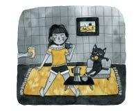 Η μαύρα γάτα και το κορίτσι πίνουν τον καφέ διανυσματική απεικόνιση