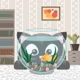 Η μαύρη γάτα εξετάζει τα ψάρια σε ένα ενυδρείο διανυσματική απεικόνιση