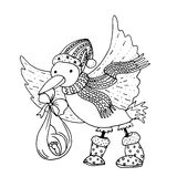 Η μαύρη διανυσματική μονο έγχρωμη εικονογράφηση με με το πουλί πελαργών έφερε το μωρό για τη Χαρούμενα Χριστούγεννα και καλή χρον Στοκ φωτογραφία με δικαίωμα ελεύθερης χρήσης