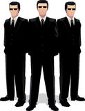 η μαύρη Μυστική Υπηρεσία ατόμων μαφιών ταιριάζει τρία Στοκ Φωτογραφίες