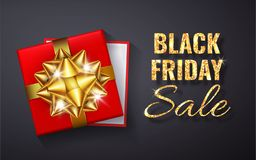 Η μαύρη πώληση Παρασκευής χρυσή ακτινοβολεί σπινθήρισμα Ανοικτό κόκκινο κιβώτιο δώρων με το χρυσό τόξο και τη τοπ άποψη κορδελλών απεικόνιση αποθεμάτων