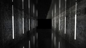 Η μαύρη σήραγγα, ο Μαύρος σχολιάζει, λαμπτήρες νέου που κρεμούν από το ανώτατο όριο, που απεικονίζεται στους τοίχους και το πάτωμ διανυσματική απεικόνιση