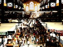 Η μεγάλη αίθουσα δεικτών, φρούτα & μια αγορά κρέατος στη Βουδαπέστη στοκ εικόνες με δικαίωμα ελεύθερης χρήσης
