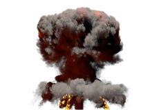 Η μεγάλη τρισδιάστατη απεικόνιση φυσήματος της λεπτομερούς έκρηξης ατομικών μανιταριών πυρκαγιάς με τις φλόγες και τον καπνό, αυτ διανυσματική απεικόνιση