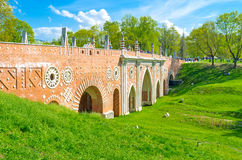 Η μεγάλη γέφυρα Tsaritsyno Στοκ εικόνα με δικαίωμα ελεύθερης χρήσης