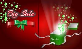 Η μεγάλη πώληση με το κιβώτιο δώρων που ανοίγει τη διανυσματική αφίσα Στοκ φωτογραφίες με δικαίωμα ελεύθερης χρήσης