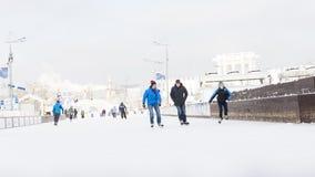 Η μεγαλύτερη αίθουσα παγοδρομίας πάγου στη Μόσχα, Ρωσία Στοκ φωτογραφία με δικαίωμα ελεύθερης χρήσης