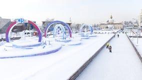 Η μεγαλύτερη αίθουσα παγοδρομίας πάγου στη Μόσχα Στοκ φωτογραφία με δικαίωμα ελεύθερης χρήσης