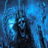 Η μελαχροινή βασίλισσα με την κορώνα τραβά το οστεώδες χέρι μπλε κάλυψη διανυσματική απεικόνιση