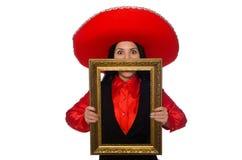 Η μεξικάνικη γυναίκα με το πλαίσιο εικόνων που απομονώνεται στο λευκό Στοκ εικόνες με δικαίωμα ελεύθερης χρήσης