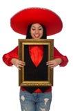 Η μεξικάνικη γυναίκα με το πλαίσιο εικόνων που απομονώνεται στο λευκό Στοκ εικόνα με δικαίωμα ελεύθερης χρήσης