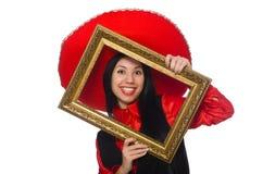 Η μεξικάνικη γυναίκα με το πλαίσιο εικόνων στο λευκό Στοκ Εικόνες
