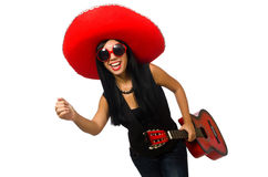 Η μεξικάνικη γυναίκα στην αστεία έννοια στο λευκό Στοκ Εικόνα