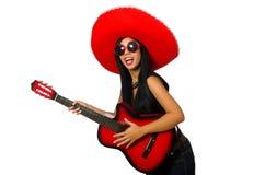 Η μεξικάνικη γυναίκα στην αστεία έννοια στο λευκό Στοκ φωτογραφία με δικαίωμα ελεύθερης χρήσης