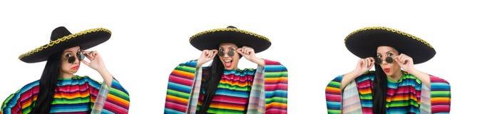 Η μεξικάνικη γυναίκα στην αστεία έννοια στο λευκό στοκ φωτογραφίες