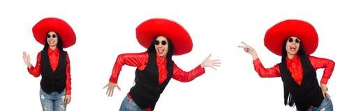 Η μεξικάνικη γυναίκα στην αστεία έννοια στο λευκό στοκ φωτογραφίες με δικαίωμα ελεύθερης χρήσης
