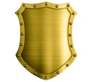 Η μεσαιωνική ασπίδα χαλκού μετάλλων απομόνωσε την τρισδιάστατη απεικόνιση Στοκ Εικόνες