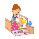 Η μητέρα βάζει την κόρη στον ύπνο διανυσματική απεικόνιση
