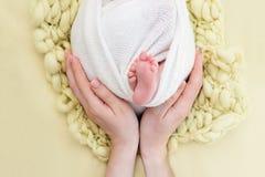 Η μητέρα κρατά τα πόδια του νεογέννητου μωρού με τα χέρια της, δάχτυλα στα αγκαλιάσματα ποδιών, μητρικής φροντίδας, αγάπης και οι στοκ φωτογραφία με δικαίωμα ελεύθερης χρήσης