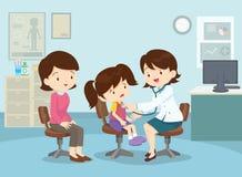 Η μητέρα πήρε το κορίτσι της για να δει το γιατρό διανυσματική απεικόνιση