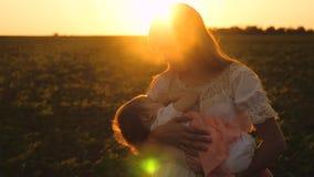 Η μητέρα περπατά με το μικρό παιδί στο θερινό πάρκο στο ηλιοβασίλεμα, οι πτώσεις παιδιών κοιμισμένες σε ετοιμότητα της μητέρας, σ φιλμ μικρού μήκους