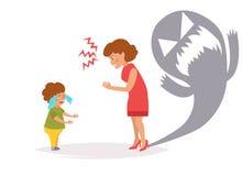 Η μητέρα φωνάζει στο παιδί διάνυσμα cartoon Στοκ εικόνες με δικαίωμα ελεύθερης χρήσης