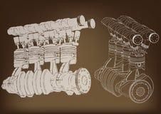 Η μηχανή αυτοκινήτων διανυσματική απεικόνιση
