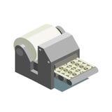 Η μηχανή εκτύπωσης τυπώνει το isometric διάνυσμα χρημάτων διανυσματική απεικόνιση