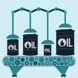 Η μηχανή κάνει τα βαρέλια πετρελαίου Παραγωγή πετρελαίου στοκ εικόνες