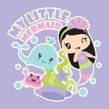 Η μικρή γοργόνα μου με τη διανυσματική απεικόνιση κινούμενων σχεδίων φίλων της για το σχέδιο υποβάθρου μπλουζών παιδιών Στοκ εικόνες με δικαίωμα ελεύθερης χρήσης