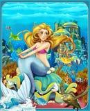 Η μικρή γοργόνα - οι πριγκήπισσες - κάστρα - ιππότες και νεράιδες - όμορφο κορίτσι Manga - απεικόνιση για τα παιδιά Στοκ φωτογραφία με δικαίωμα ελεύθερης χρήσης