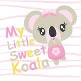 Η μικρή γλυκιά απεικόνιση κινούμενων σχεδίων koala μου για το σχέδιο καρτών ντους μωρών απεικόνιση αποθεμάτων