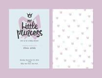 Η μικρή πριγκήπισσά μου - προσκλήσεις κοριτσιών ντους μωρών, διανυσματικά πρότυπα διανυσματική απεικόνιση