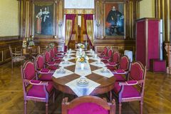Η μικρή τραπεζαρία που χρησιμοποιείται ως καθιστικό για τους φιλοξενουμένους και την τραπεζαρία πριγκήπων ` s Στοκ Εικόνες