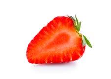 Η μισή από τη φράουλα που απομονώνεται Στοκ Φωτογραφία